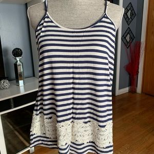Xhilaration Striped Lace Tank Top